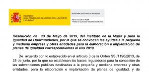 Subvenciones para la elaboración e implantación de planes de igualdad 2019